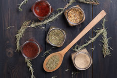 Spices on wood Royalty Free Stock Photos