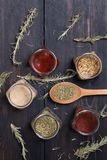 Spices on wood Stock Photo