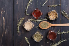 Spices on wood Royalty Free Stock Photography