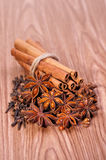 Spices on wood background Stock Photography
