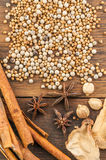Spices on wood background Stock Image