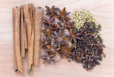 Spices on wood background Royalty Free Stock Image