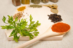 Spices on wood Stock Photography
