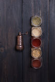 Spices on wood Stock Photos
