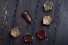 Spices on wood Stock Image