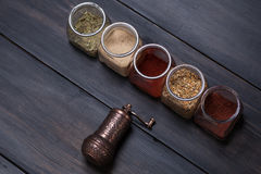 Spices on wood Stock Images