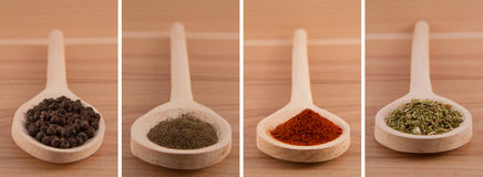 Spices in wood spoons (pepper, oregano, paprika) Stock Photos