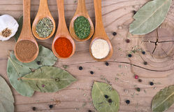 Spices on Wood table food preparation Food. Ingredients royalty free stock photos