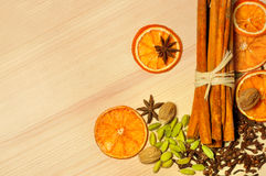 Spices on  wooden background Royalty Free Stock Image