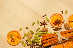 Spices on  wooden background Royalty Free Stock Photography