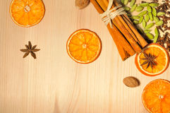 Spices on  wooden background Stock Photography