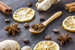 Spices on wooden background Stock Image