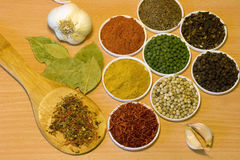 Spices on wooden board Royalty Free Stock Image
