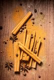 Spices on a wooden board Royalty Free Stock Images