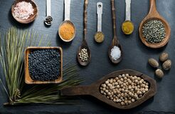 Spices in wooden bowls and spoons