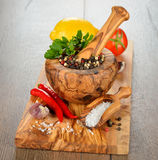 Spices, wooden mortar and vegetables Stock Photography