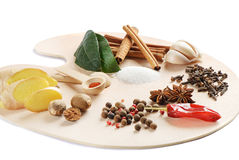 Spices on a wooden palette Stock Photo