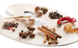 Spices on a wooden palette Stock Photos