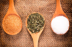 Spices in wooden spoon Stock Photo