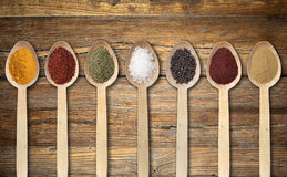 Spices on wooden spoon Royalty Free Stock Images