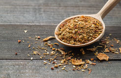 Spices in wooden spoon Stock Image