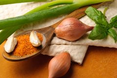 Spices on wooden spoon on a towel Stock Photos