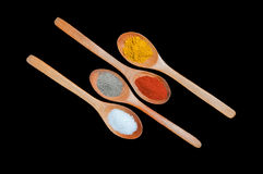 Spices in wooden spoons. Black background Royalty Free Stock Photography