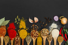Spices in wooden spoons on black background. Royalty Free Stock Photos