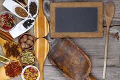 Spices and wooden spoons Stock Photo