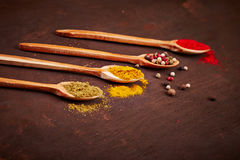 Spices on a wooden spoons Stock Photo