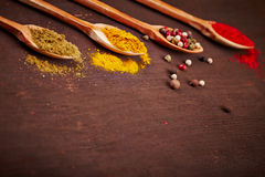 Spices on a wooden spoons Stock Photos