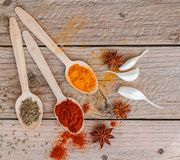 Spices in wooden spoons on the table Royalty Free Stock Photography