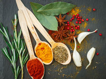 Spices in wooden spoons on the table Stock Photo