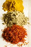Spices on a wooden table Royalty Free Stock Photography