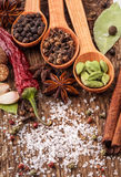 Spices on wooden table Royalty Free Stock Images
