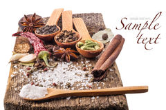 Spices on wooden table Royalty Free Stock Photography