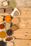 Spices on a wooden table Stock Photos