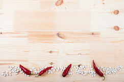 Spices on a wooden table Royalty Free Stock Images
