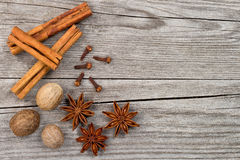 Spices on wooden table Stock Photo