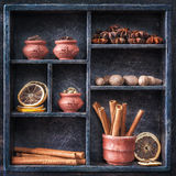 Spices in a wooden tray. Collage. Royalty Free Stock Photos