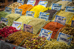 Spices with written names. Spices and tea with written names on istanbul market Stock Photography