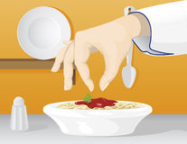 Spicing. A vector of a chef hand spicing a bologna spaghetti dish Stock Images
