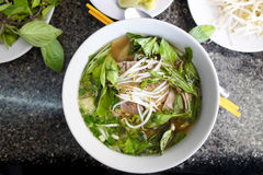 Spicy Asian Beef noodle Soup Stock Photos