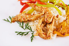 Spicy asian chicken with rice Stock Image