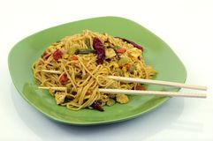 Spicy asian noodles with chopsticks Royalty Free Stock Photo