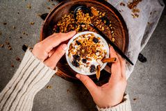 Spicy autumn and winter breakfast with granola, Royalty Free Stock Photos