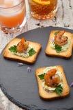 Spicy Avocado Shrimps Toasts Stock Photos