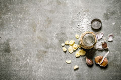 Spicy background. Fragrant garlic salt. Stock Photography