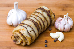 Spicy bacon roll with garlic Stock Image