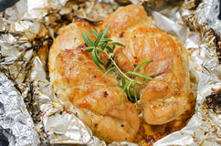 Spicy baked chicken breast with rosemary Royalty Free Stock Photos